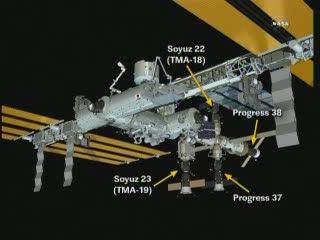 Grafika przedstawiająca aktualny układ statków zadokowanych do ISS / Credits - NASA TV