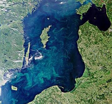 Morze Bałtyckie latem zobrazowanMorze Bałtyckie latem, zobrazowane przez satelitę Envisat, 11 lipca 2010 / Credits - ESAy przez satelitę Envisat, 11 lipca 2010 / Credits - ESA