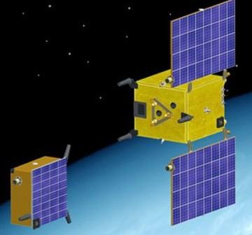 Wizualizacja rozdzielenia satelity PRISMA na Tango (po lewej) i Mango (po prawej) / Credits: Swedish Space Corp.
