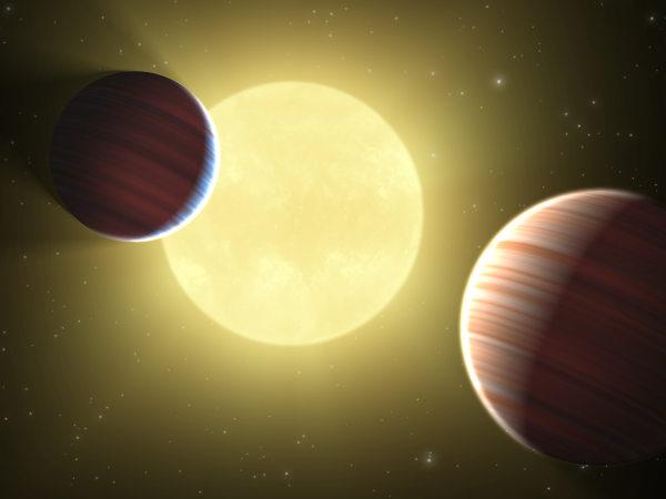 Wizja artystyczna układu planetarnego wykrytego przez misję Kepler / Credits - NASA