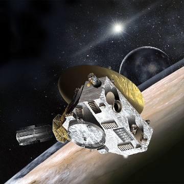 Artystyczna wizja sondy New Horizons przelatującego obok Plutona / Credits - NASA, JPL