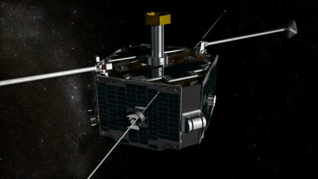 Satelita konstelacji THEMIS - właśnie dwa urządzenia tego typu stanowią obecnie pojazdy misji ARTEMIS (NASA/GSFC Conceptual Image Lab)