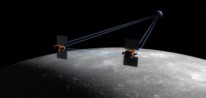 Wizja artystyczna próbników GRAIL na orbicie Księżyca (NASA/JPL)