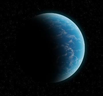 Gliese 581g, przedstawiona jako glob w całości pokryty oceanem / Credits - K. Kanawka