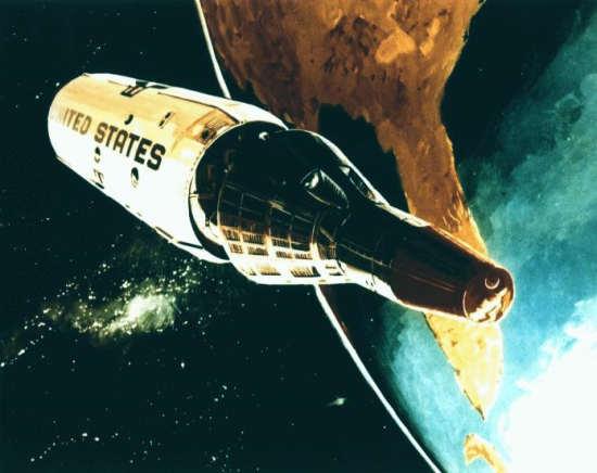 Wizja artystyczna stacji kosmicznej Manned Orbiting Laboratory (USAF)
