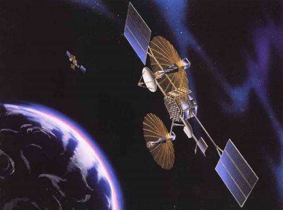 Wizja artystyczna satelitów systemu TDRSS (NASA)