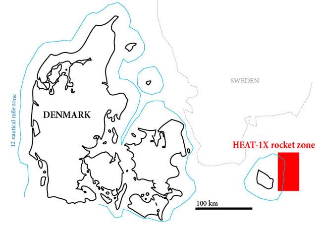 Wyznaczony rejon startu rakiety HEAT-1X (Copenhagen Suborbitals)
