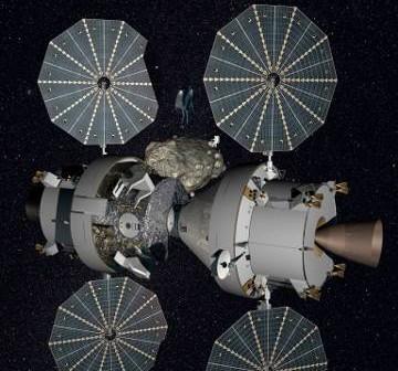Dwie kapsuły Orion (po lewej zmodyfikowana wersja do misji poza niską orbitę wokółziemską) w pobliżu planetoidy NEO - wizja Flexible Path / Credits - Lockheed Martin