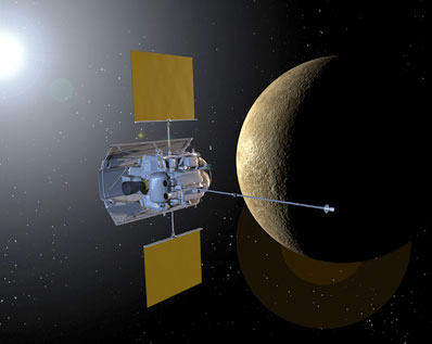 MESSENGER na orbicie Merkurego - wizualizacja / Credits: NASA