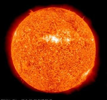 Wygląd Słońca tuż po godzinie 11:00 CEST w dniu 28 września 2010 roku / Credits - SDO, NASA