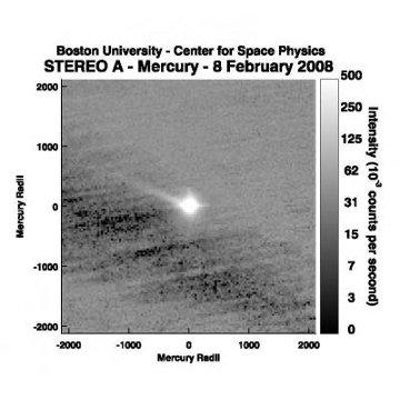 Zarejestrowany ogon gazu uciekającego z Merkurego / Credits - NASA, STEREO