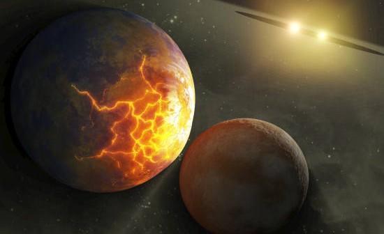 Wizja artystyczna kolizji dwóch planet, orbitujących wokół ciasnego układu podwójneo gwiazd (NASA/JPL-Caltech)