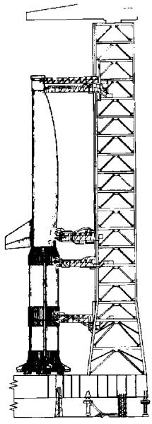 Konfiguracja LUT dla systemu orbiter/S-IC po naniesieniu zmian w ramach koncepcji Eleya (NASA/Bellcomm)
