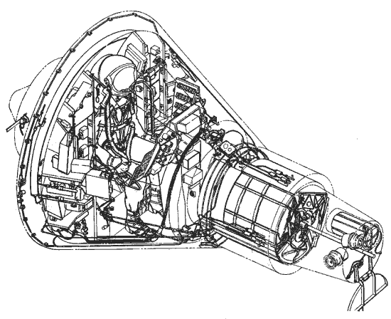 Schemat struktury wewnętrznej pojazdu załogowego Merkury (NASA/McDonnell Aircraft))