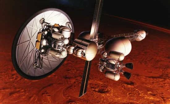 Wizja artystyczna pojazdu transferowego wyposażonego w napęd nuklearny oraz dysk osłony wykorzystywany do hamowania atmosferycznego (NASA/MSFC-9255078)