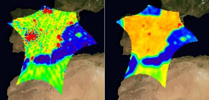 Wpływ naziemnych zakłóceń radiowych na pracę satelity SMOS nad Hiszpanią. Z lewej przed akcją ich likwidacji (marzec 2010) i po jej przeprowadzeniu (lipiec 2010)