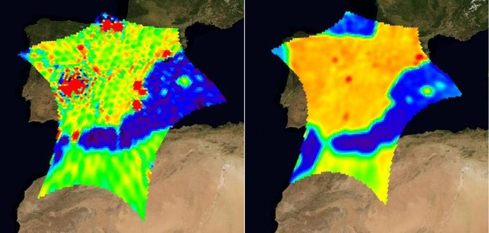 Zakłócenia nad Hiszpanią. Z lewej przed akcją ich likwidacji (marzec 2010) i po jej przeprowadzeniu (lipiec 2010) / Credits: ESA