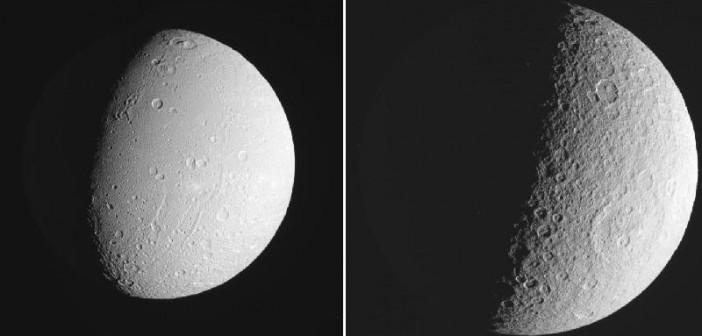Dione i Rea sfotografowane 17 października przez sondę Cassini / Credits: NASA/JPL/SSI/LPI