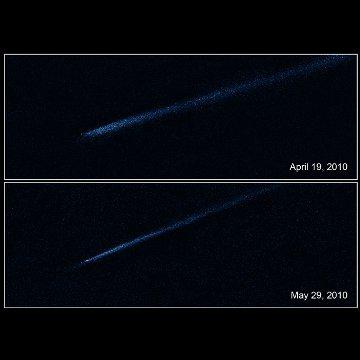 Tajemniczy ślad P/2010 A2 / Credits - NASA, ESA i D. Jewitt (UCLA)