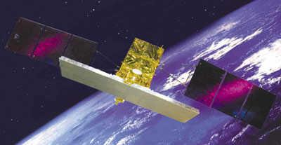 Wizja artystyczna satelity tupu COSMO (Thales Alenia)
