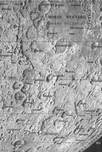 Fragment mapy księżyca autorstwa Andrzeja Marksa (Znowu na Księżyc, 1999)