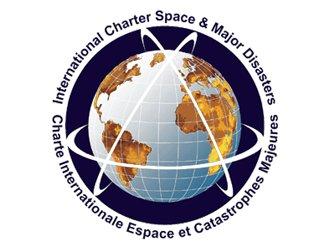 Logo Międzynarodowej Karty Przestrzeni Kosmicznej i Kataklizmów / Credits: International Charter of Space and Major Disasters