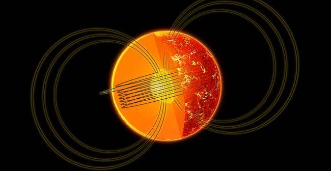 Wizja artystyczna pulsara i jego pól magnetycznych - zewnętrznego i wewnętrznego (NASA/CXC/M.Weiss)