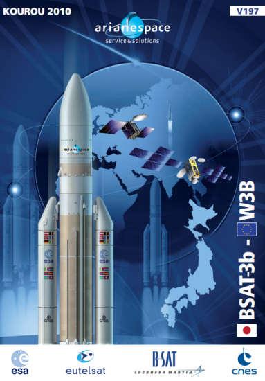 Plakat misji W3B i BSAT-3b (Arianespace)