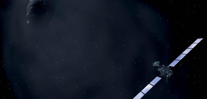 Sonda Rosetta i kometa 67P - wizja artystyczna / Credit: ESA & AOES Medialab