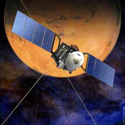 Sonda Mars Express na orbicie okołomarsjańskiej - wizualizacja / Credits: ESA