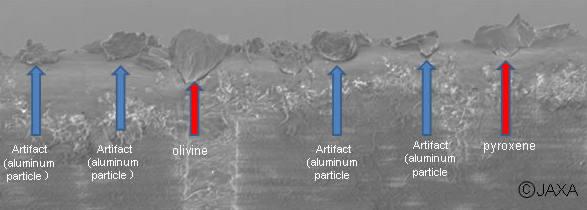 Obraz powierzchni szpatułki, uzyskany ze skaningowego mikroskopu elektronowego, na której widoczne są uwięzione drobiny materiału; oprócz zanieczyszczenia aluminium odkryto minerały, pochodzące z Itokawy - oliwiny oraz pirokseny (JAXA)