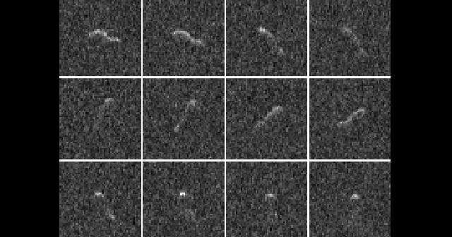 Dwanaście zdjęć radarowych jądra komety Hartley 2 wykonanych przez Arecibo Observatory Planetary radar między 25 a27 października 2010r. Credit: NAIC-Arecibo/Harmon-Nolan