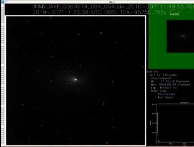 Podgląd na jedno z pierwszych zdjęć odebranych na Ziemi, które pochodzi z instrumentu MRI sondy Deep Impact/EPOXI (NASA TV)