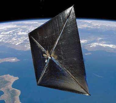 Wizja artystyczna satelity Nanosail-D na orbicie Ziemi (NASA)