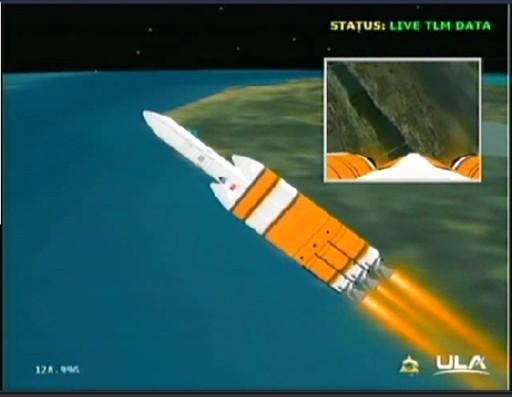 Delta IV i NROL-32 w trakcie lotu - wizualizacja danych telemetrycznych z rakiety / Credits: ULA