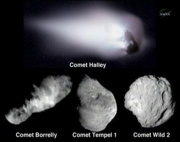 Porównanie wyglądu znanych jąder kometarnych (NASA TV/JPL)