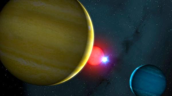 Wizja artystyczna układu planetarnego NN Serpentis, w którym dwie planety gazowe obiegają układ podwójny, złożony z chłodnej gwiazdy typu M4 oraz białego karła (Mark A. Garlick/University of Warwick)