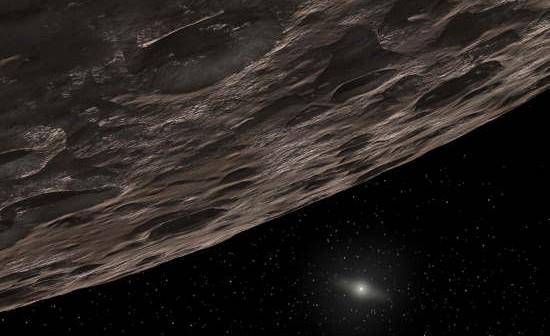 Wizja artystyczna obiektu z Pasa Kuipera; w oddali widoczne Słońce (NASA/JPL-Caltech/T. Pyle)