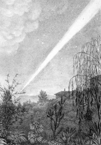 Szkic przedstawiający rozmiary Wielkiej Komety z 1843 roku (Allport, Mary Morton, 1806-1895)