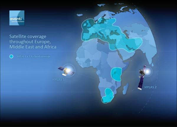 Mapa zasięgu satelitów HYLAS oraz HYLAS 2 (Avanti Communications)
