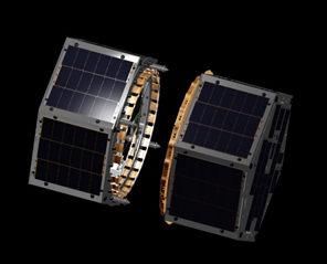 Satelity FASTRAC tuż po rozłączeniu na orbicie Ziemi (University of Texas)