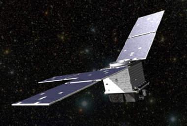 Wizja artystyczna satelity STPSat-2 na orbicie Ziemi (Ball Aerospace)