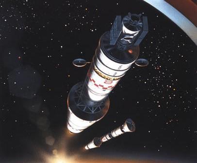 Wizja artystyczna pojazdów OA oraz LA na orbicie Ziemi z uruchomionymi modułami napędowymi HBS; © David A. Hardy (www.astroart.org)