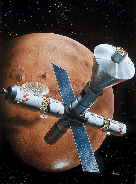 Oba pojazdy OA oraz LA połączone w jeden statek kosmiczny dzięki czteropunktowemu modułowi cumowniczemu; © David A. Hardy (www.astroart.org)