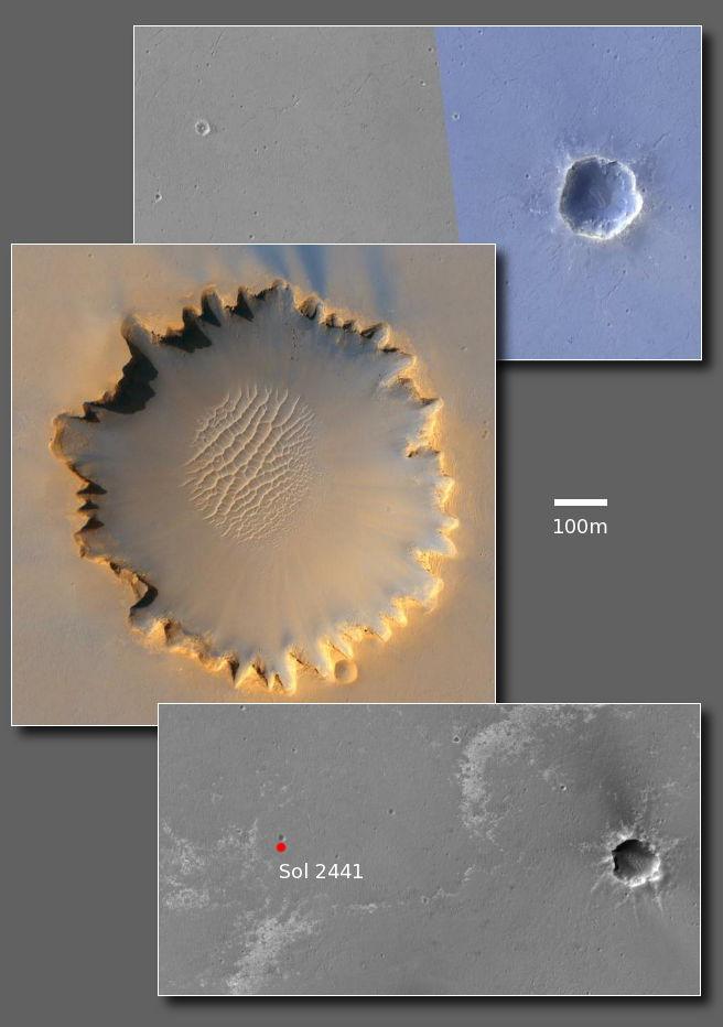 Trzy obszary równiny Meridiani przedstawione w tej samej skali. Od góry: kratery Eagle i Endurance, krater Victoria, obecne położenie łazika i krater Santa Maria (NASA)