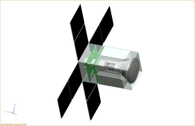 Wstępny projekt litewskiego nanosatelity - widoczna kapsuła powrotna / Credits - LSA