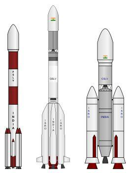 Indyjskie rakiety nośne: od lewej PSLV, GSLV Mk I i II, GSLV Mk III (budowana) / Credits - GW Simulations