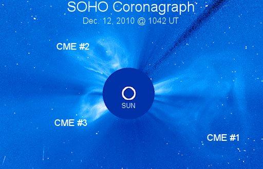 12 grudnia 2010 - trzy CME / Credits - NASA, ESA, SOHO, spaceweather.com