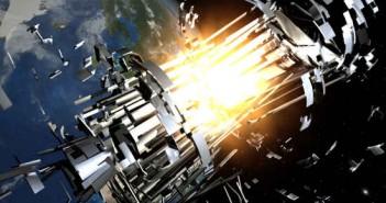 Wizja artystyczna uderzenia pocisku ASAT w satelitę na niskiej orbicie Ziemi (ESA)
