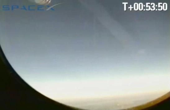 Widok z kamery zainstalowanej na pokładzie kapsuły Dragon (SpaceX)